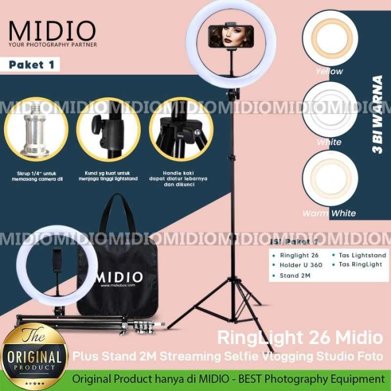 RingLight 26 Midio Plus Stand Untuk Live Streaming Vlogger Video LED dan Lampu LED Studio Foto