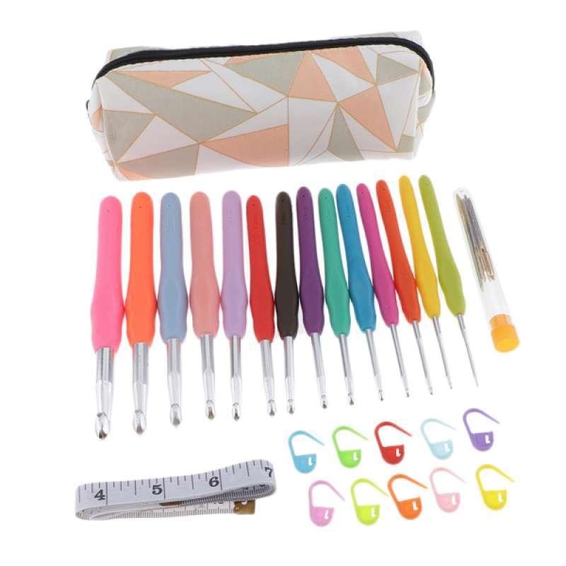 oem 1 set soft handle crochet hook and knitting needles kit for diy weaving tool full01