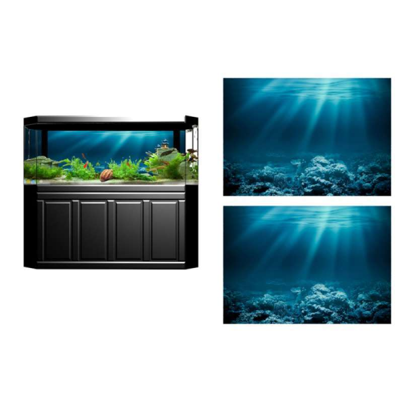 Jual 2pcs Aquarium Background Sticker 3d Adhesive Wallpaper Fish Tank Decorative Pictures Underwater Backdrop Image Decor Online Januari 2021 Blibli
