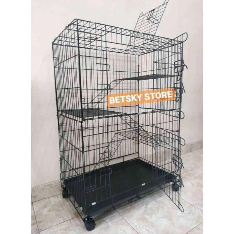 Kandang kucing tingkat 3 size XL 75x50x100