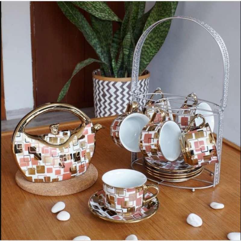 Teaset Keramik plus Tray Stainless Capodimonte