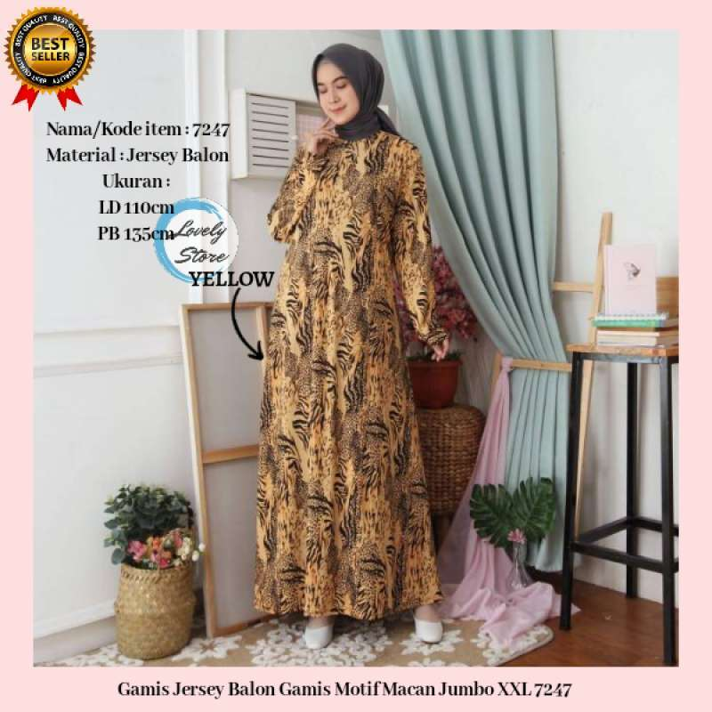 Jual Baju Gamis Wanita Terbaru Gamis Jersey Balon Gamis Motif Macan Jumbo Xxl 7247 Online Maret 2021 Blibli