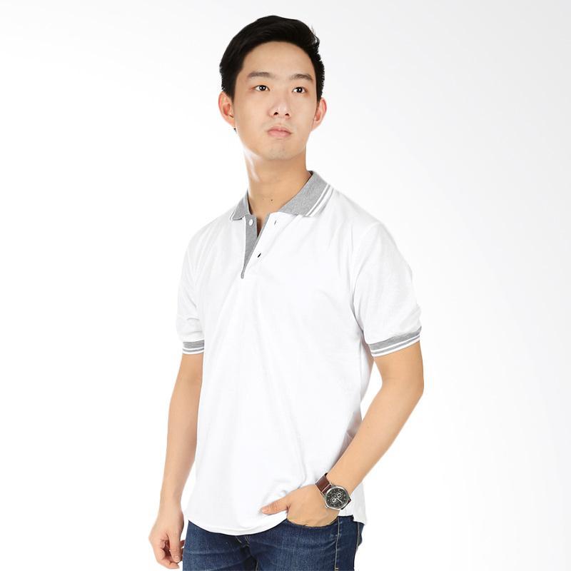 Elfs Shop Neck Abu Muda Kaos Polo - Putih Extra diskon 7% setiap hari Extra diskon 5% setiap hari
