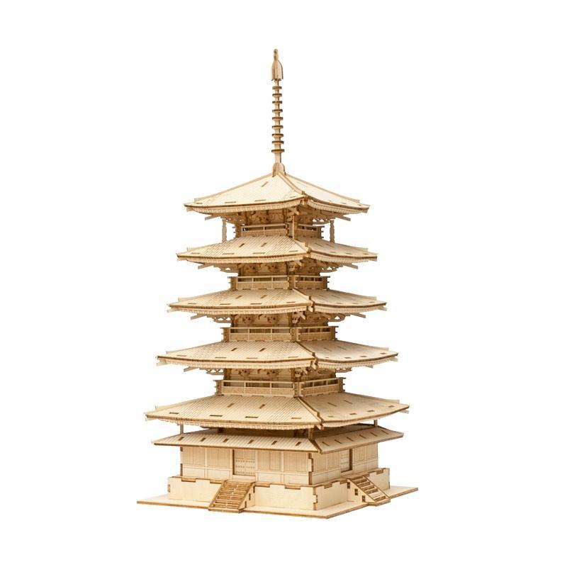Kigumi Five Story Pagoda 3D Puzzle Kayu
