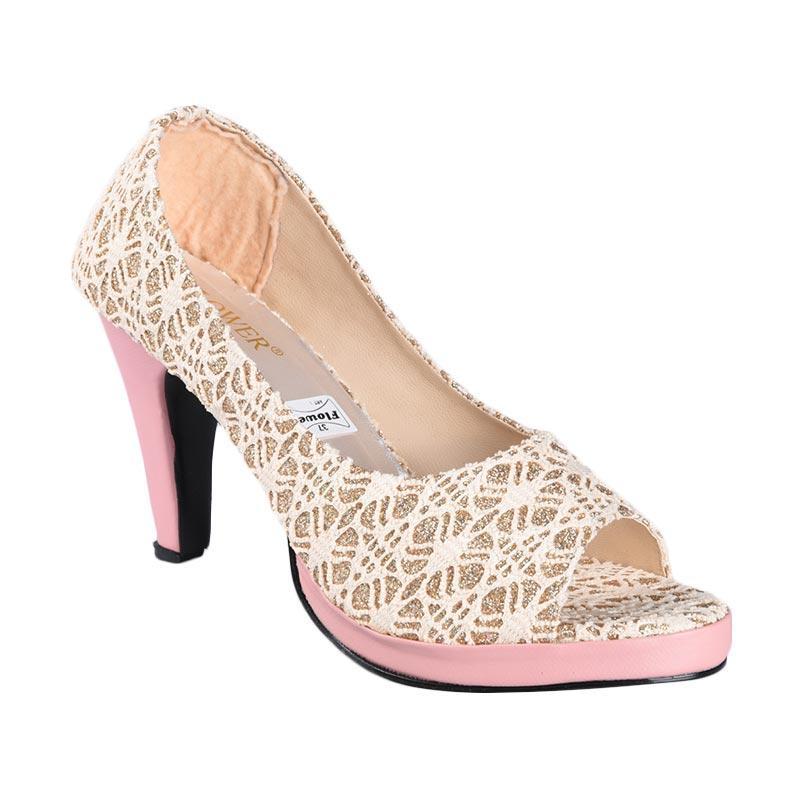 Flower SN-128 High Heels Sepatu Wanita - Pink