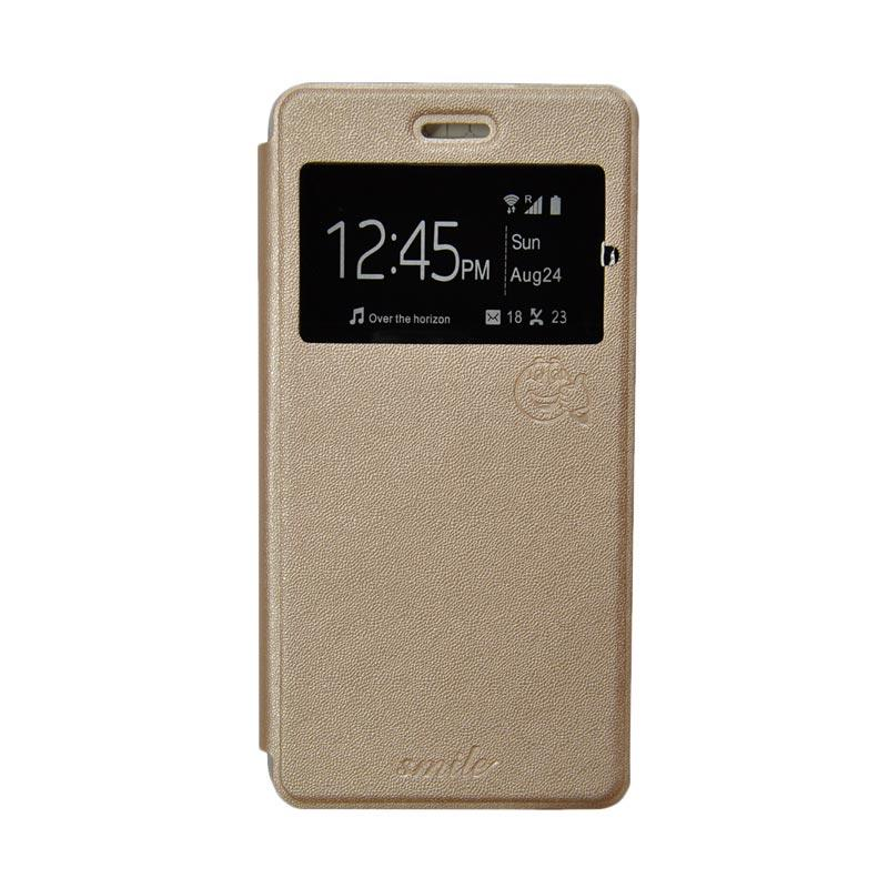 Smile Flip Cover Casing for Samsung Galaxy J7 - Gold