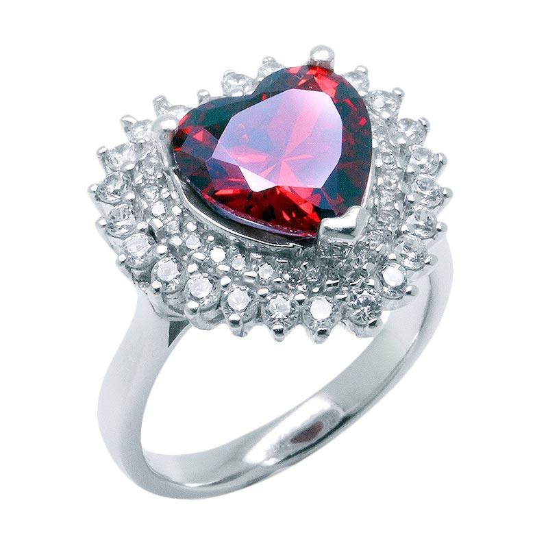 Anna Silver Love SWR-007 Ladies Ring - Red