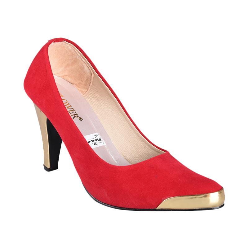 Flower SN-154 High Heels Sepatu Wanita - Merah