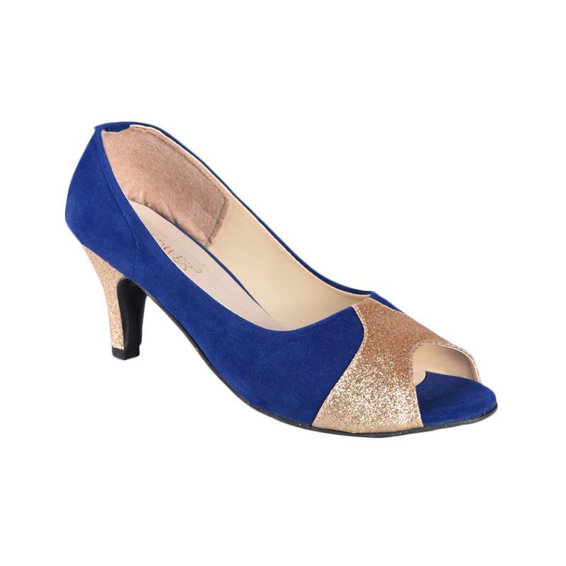 Flower SN-158 High Heels Sepatu Wanita - Biru