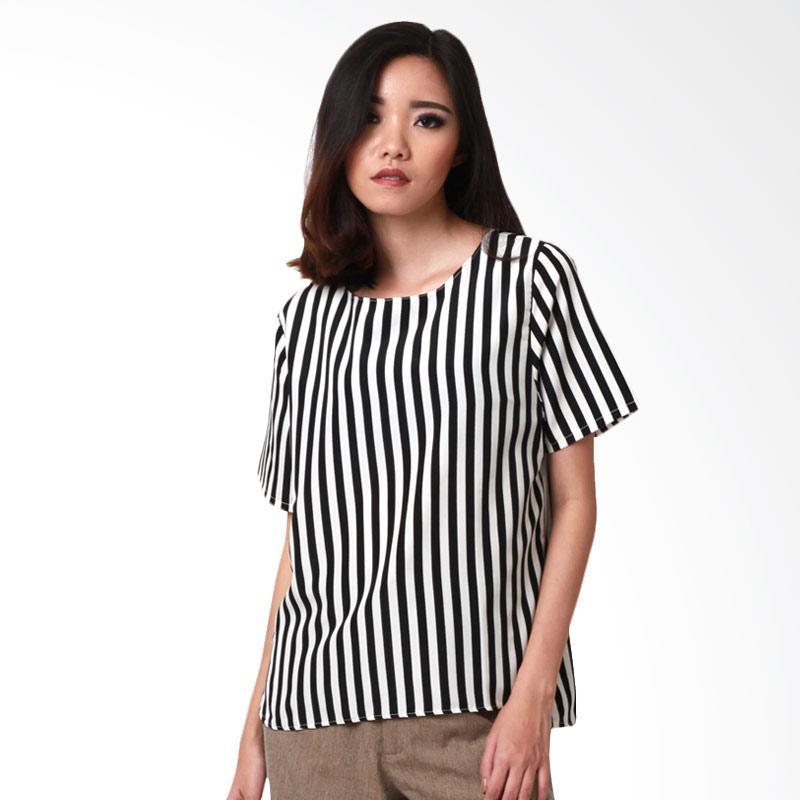 MS Porter Fifine Stripe Blouse - Black