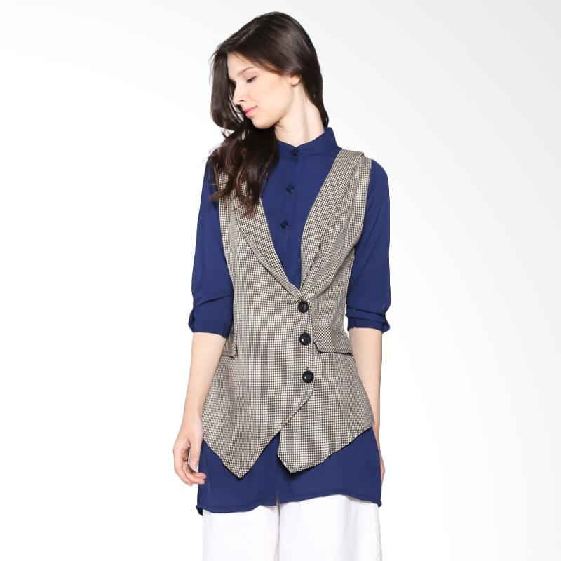 Carte Blouse With Vest Atasan Wanita- Navy