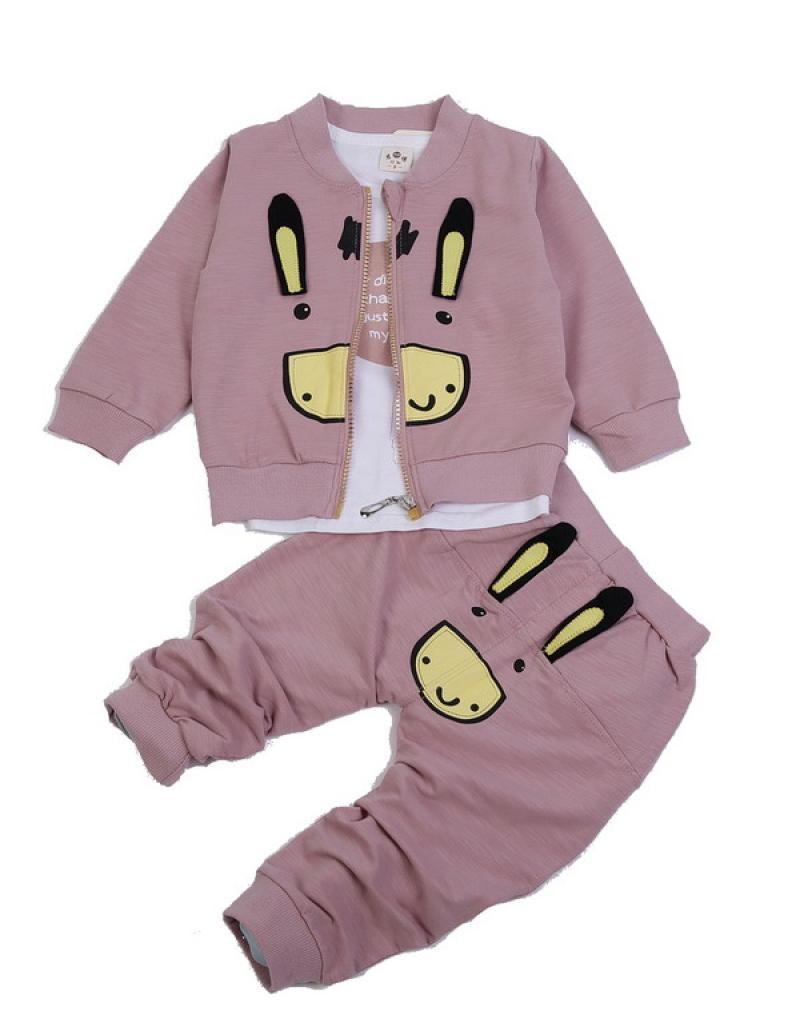 Chloebaby Shop 3 in 1 Rabbit F959 Setelan Pakaian Anak - Pink