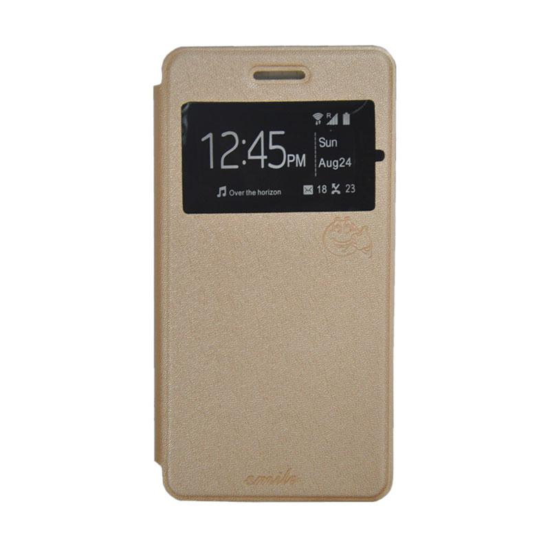 SMILE Standing Cover Casing for Andromax R2 - Gold