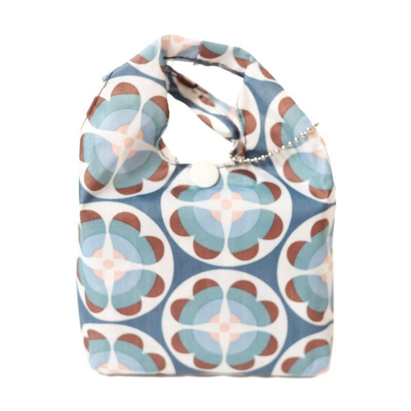 Deeneve Foldable Eco-Bag Geometric Tote Bag - Teal