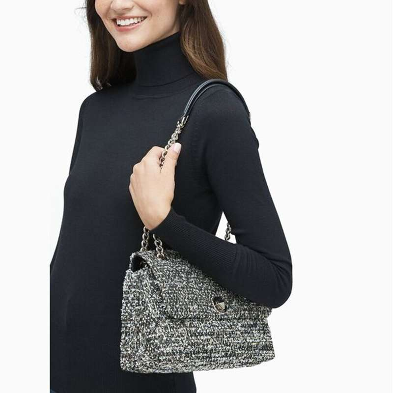 KATE SPADE Natalia Tweed Medium Flap Shoulder Bag