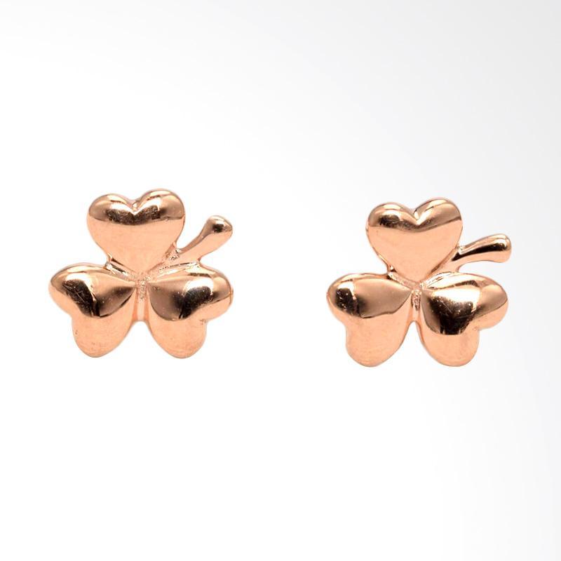 Tiaria Leaf Rose Gold Earring Anting Emas Perhiasan Anting Emas