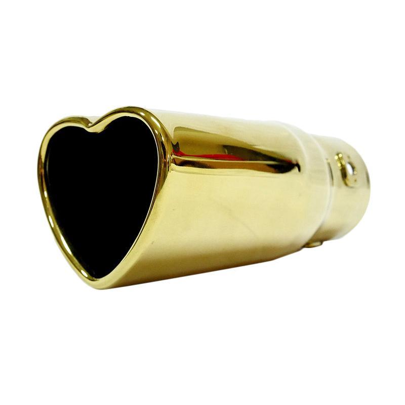 SIV KNL-A303 Motif Heart Muffler Cutter Head Untuk Knalpot Mobil Universal - Gold
