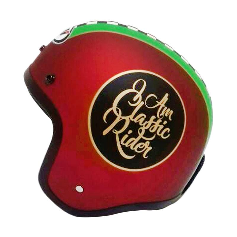 THI Helmets Classic Grafis Helm Half Face - Merah Doff