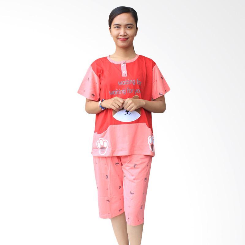 Aily SL040 Setelan Baju Tidur Wanita Celana Pendek - Merah