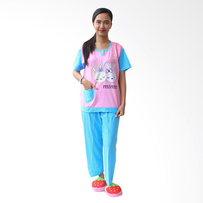 Aily SL042 Setelan Baju Tidur Wanita Celana Panjang - Pink