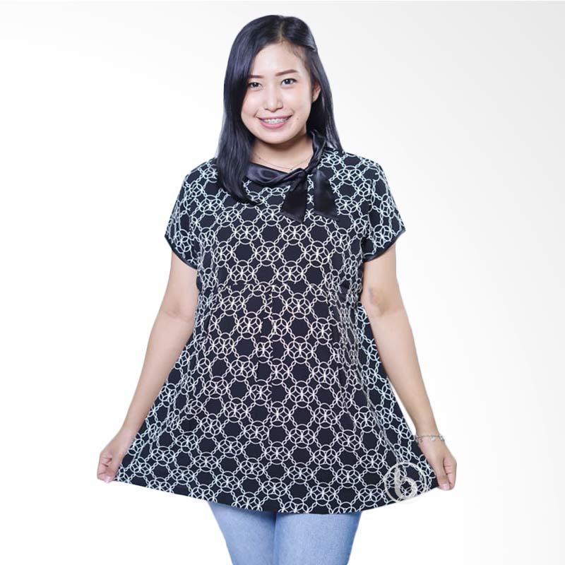 harga Mama Hamil BLD 396 Krah Pita Silk Bunga Cincin Lengan Pendek Baju Atasan Hamil Wanita - Hitam Blibli.com
