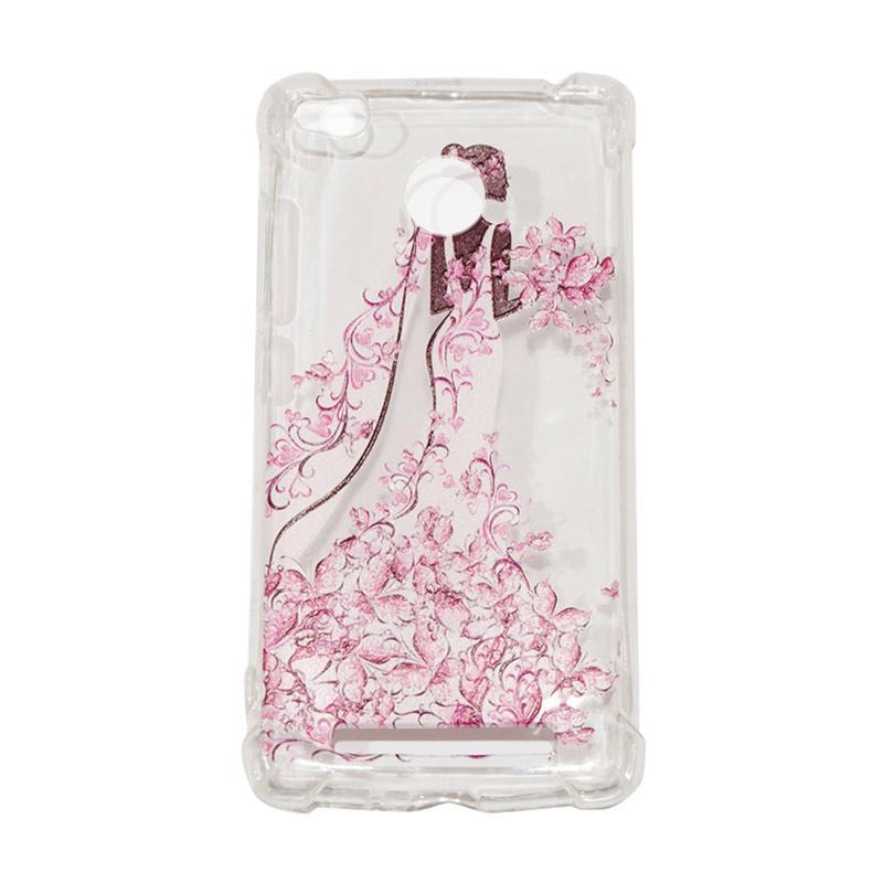 QCF Softcase Anti Crack Anti Shock Xiaomi Redmi 3S Silicone Casing Gambar Wanita Gaun Pink + FREE Bumper Karet Animasi Random for Xiaomi Redmi 3S