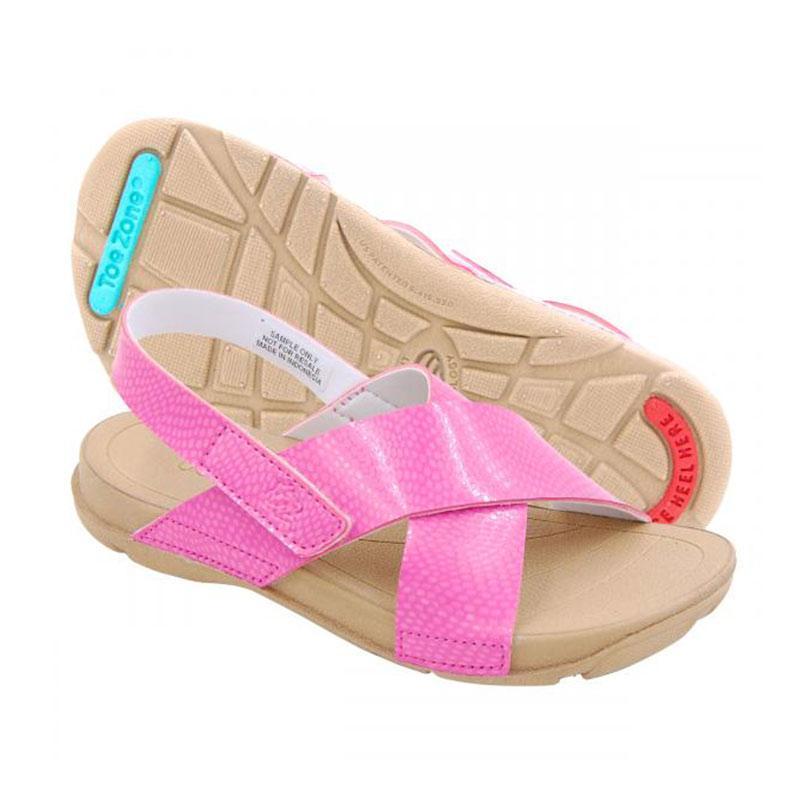 Toezone Kids Gili Ch Flora Dk Tan Sepatu Sandal Anak Perempuan - Pink