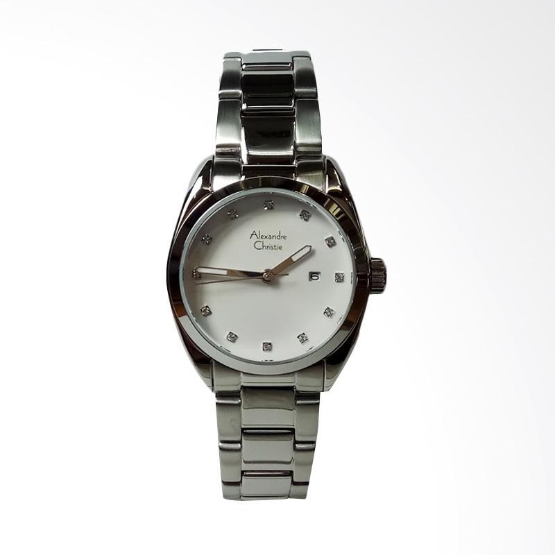 Alexandre Christie AC8534LD Stainless Steel Dial White Jam Tangan Wanita - Silver