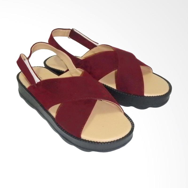 Anneliese Darcy X Sandal Wedges - Maroon