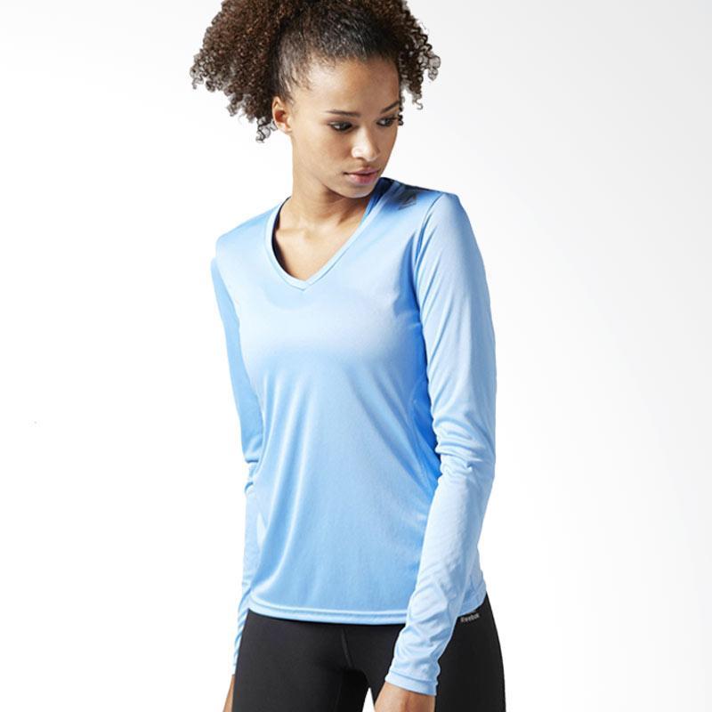 Reebok Run Essentials LS Tee Kaos Olahraga Wanita - Ice Blue [BJ9979]