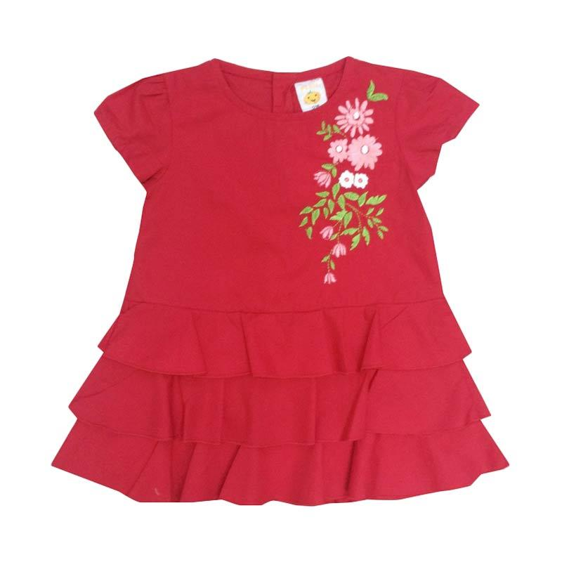 PLEU Bordir Susun Dress Anak - Red