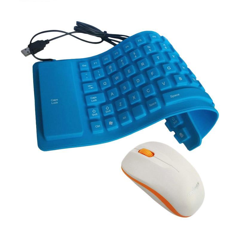 Universal Keyboard Flexible Mini - Biru + Free Mouse Wireless Advance W10