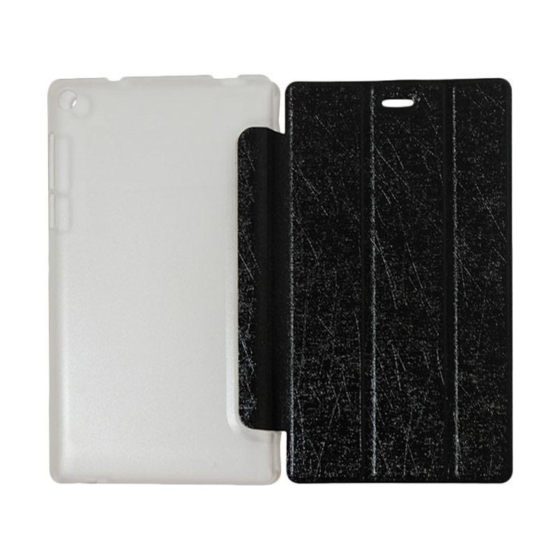 QCF Flip Cover Lenovo Tab 3 7.0 Inch TB3-730M Leather Case Dompet Lenovo Tab3 730M - Hitam
