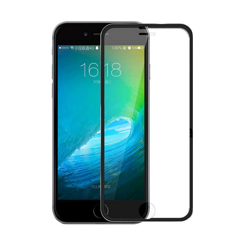 QCF Tempered Glass Ring Besi Aluminium Screen Protector for Apple iPhone 6 / iPhone6 / Iphone 6G / 6S Ukuran 4.7 Inch Pelindung Layar - Hitam