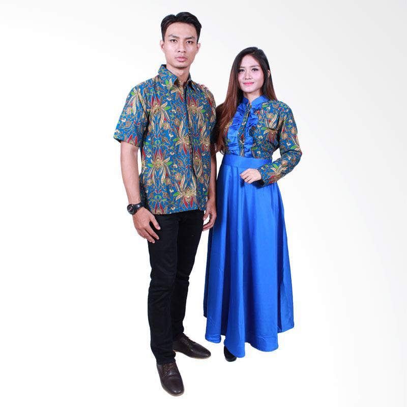 Batik Putri Ayu Solo SRG504 Batik Sarimbit Gamis - Biru