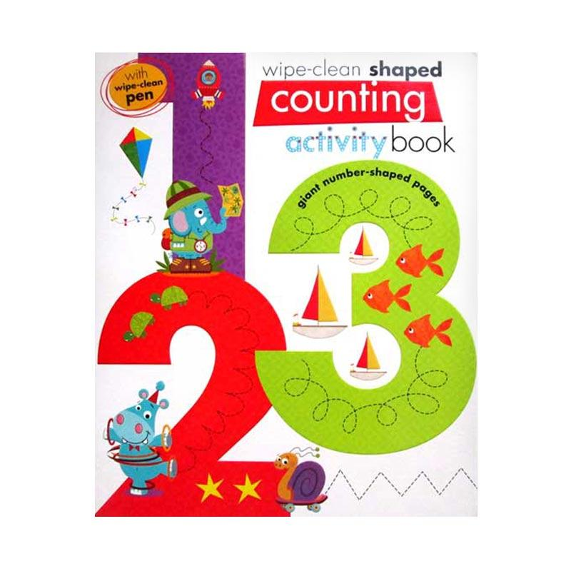 Genius Wipe Clean Shaped Counting 123 Activity Book With Giant Number-Shaped Pages And Wipe-Clean Pen Buku Anak