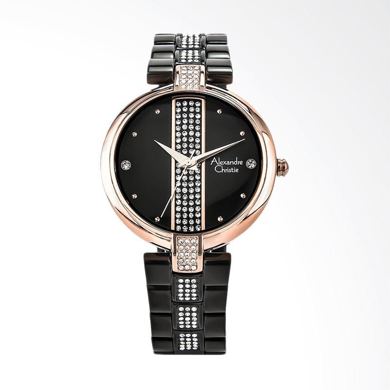 Alexandre Christie AC 2684 LH BBRBA Ladies Black Dial Stainless Steel Jam Tangan Wanita - Black