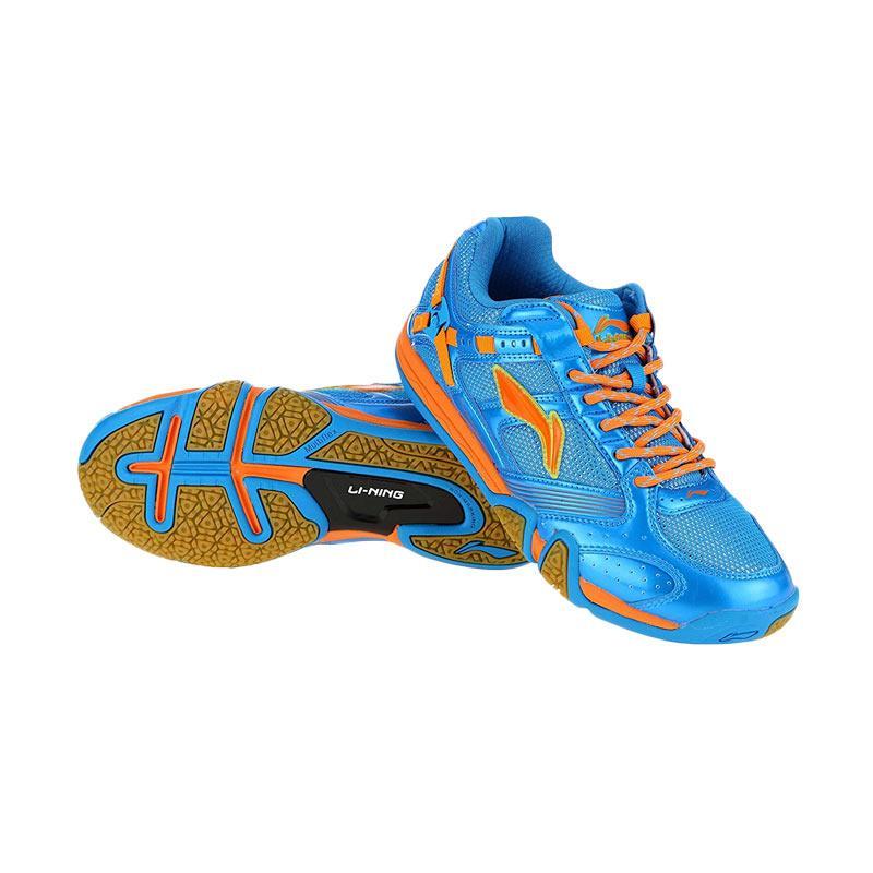 harga Sepatu Li-Ning Saga Shine AYTK069 Blue Orange Original Badminton Shoes Lining Bulutangkis Blibli.com