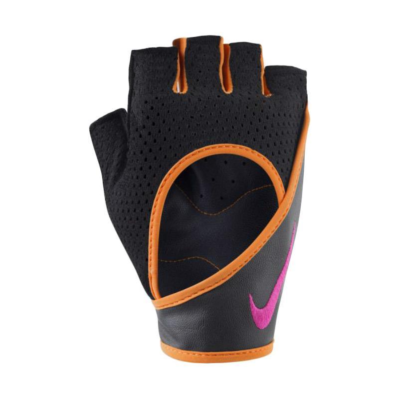 NIKE Women's Performance Wrap Training Gloves Sarung Tangan Fitness - Black Orange [NLGA9024]