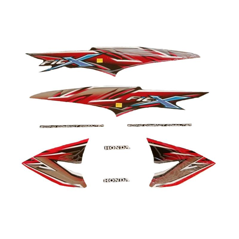 Idola Striping Motor For Honda Supra Fit X 2008 Full Hitam Merah