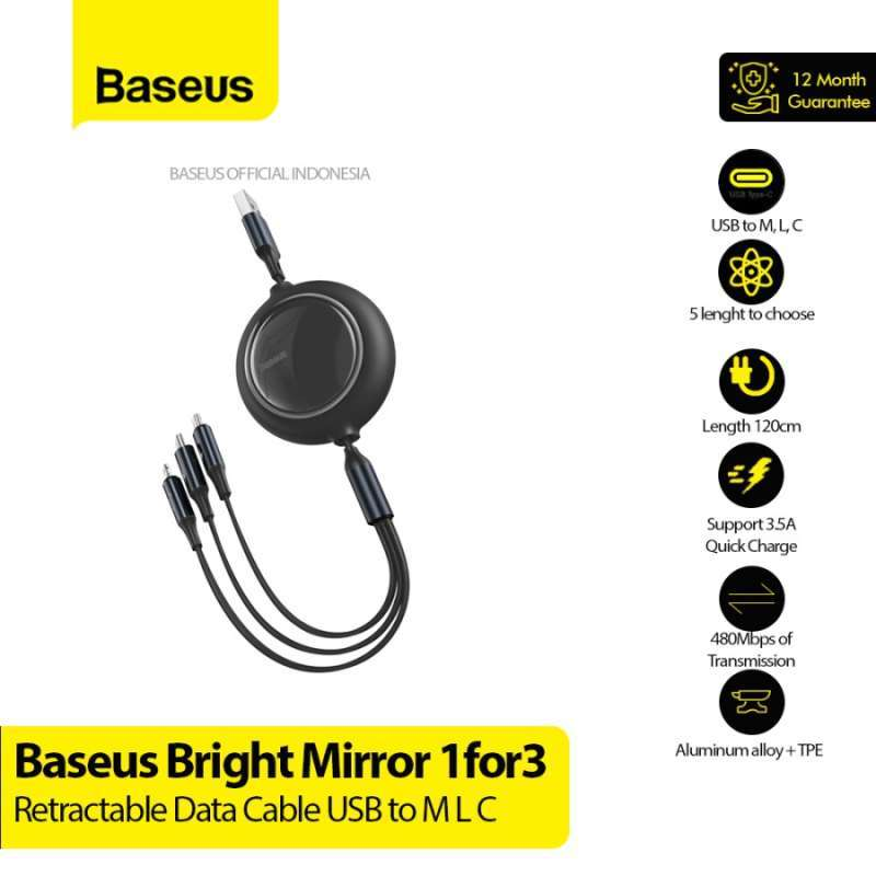 BASEUS Bright Mirror 1for3 Retractabl USB to M L C 3.5A 1.2M CAMLT-MJ