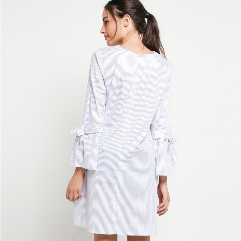 Jual Miyoshi Jeans My18dr151pn A Line Fit Knee Length Dress Navy White Murah Februari 2020 Blibli Com