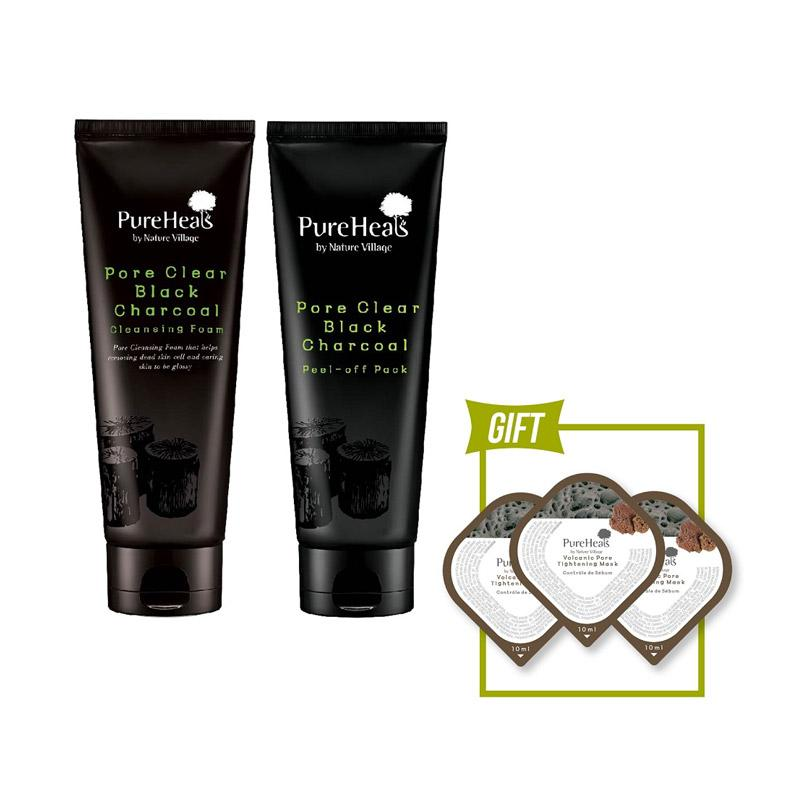 Pureheals Pore Clear Black Charcoal Peel off Pack 100 g Cleansing Foam 150 mL Free Gift