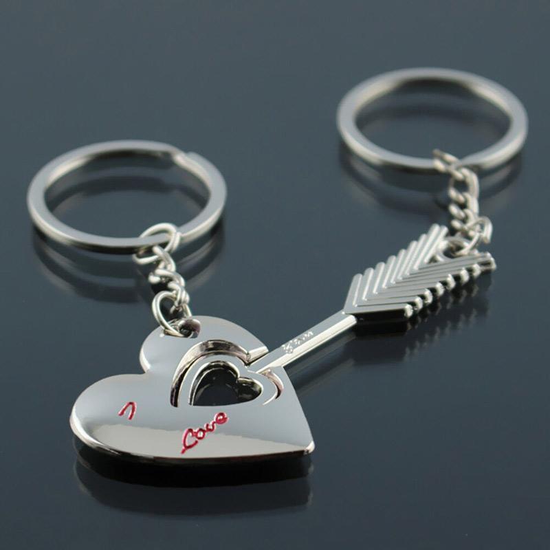 Key Fob Keychain >> Bluelans Couples Gift Fashion Love Heart Arrow Pendant Keyring Keyfob Keychain 2 Pcs