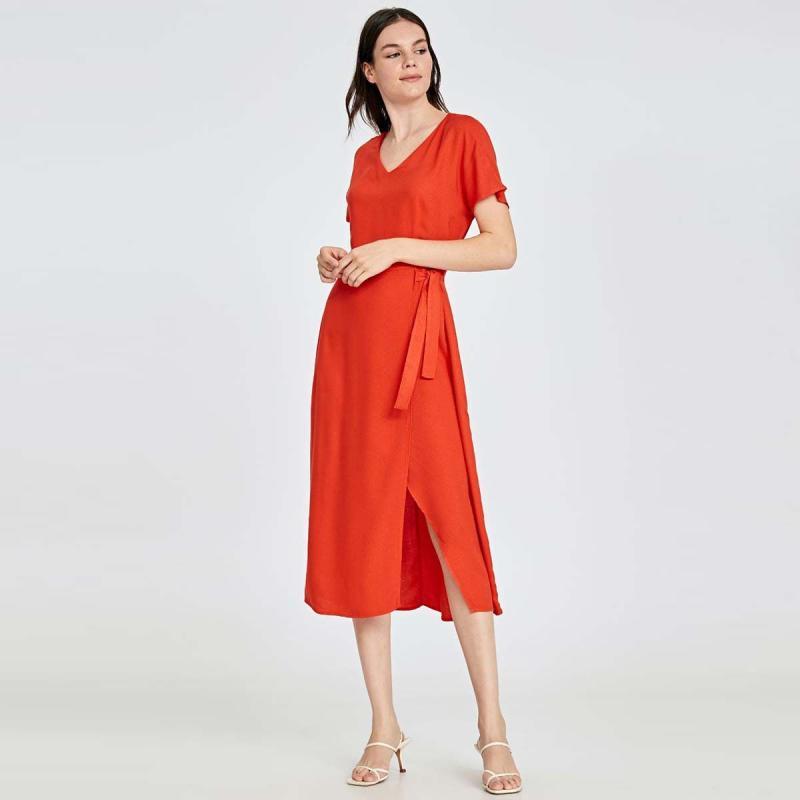 Belted Viscose Dress Wanita Coral