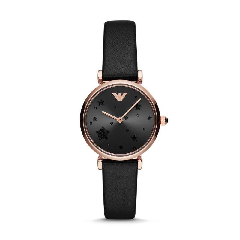 Emporio Armani Gianni T Bar Black Leather Jam Wanita