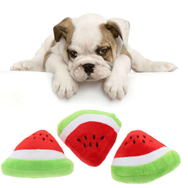 Jual 3 Pcs Funny Dog Toy Pet Puppy Chew Squeaky Plush Sound Play Toy Watermelon Online November 2020 Blibli