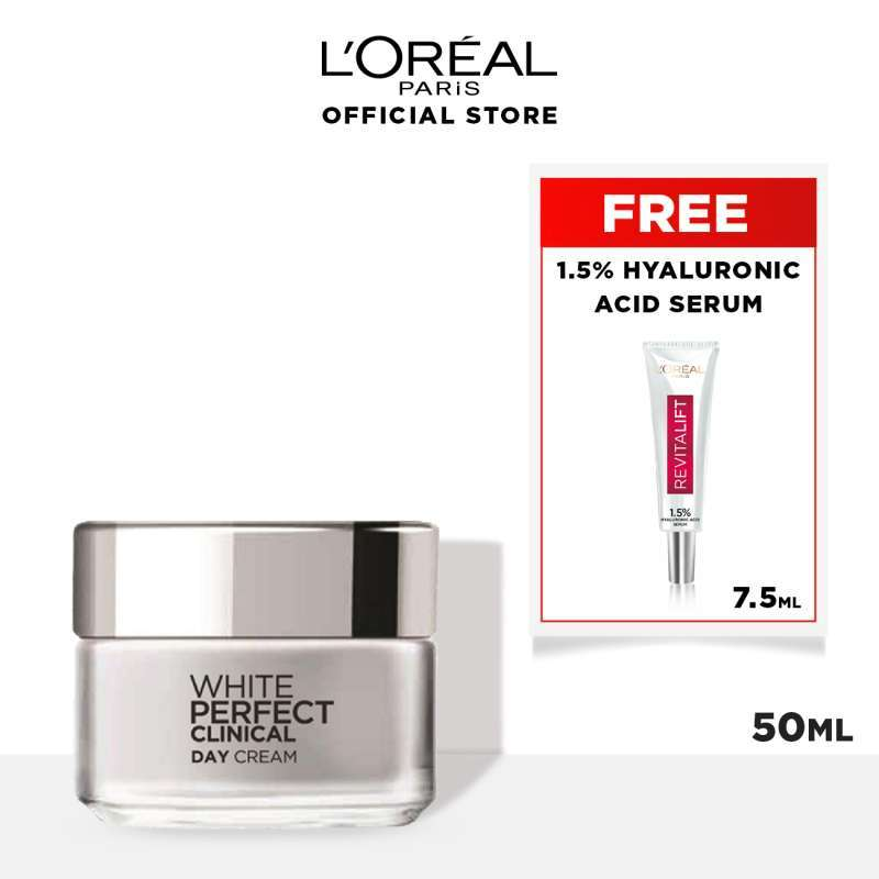 L Oreal Paris Dermo Expertise White Perfect Clinical Day Cream SPF 19 Skin Care 50 ml FREE Hyaluronic Serum 7 5ml