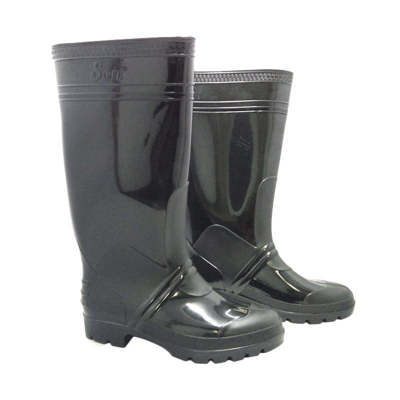 harga Steffi Karet Sepatu Boots - Hitam [Tinggi 41 cm] Blibli.com