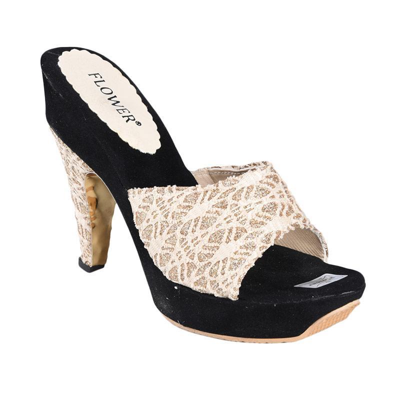 Flower SN-156 High Heels Sepatu Wanita - Hitam